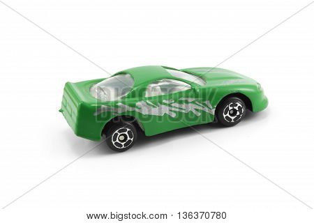 green car deportived parked isolated white background