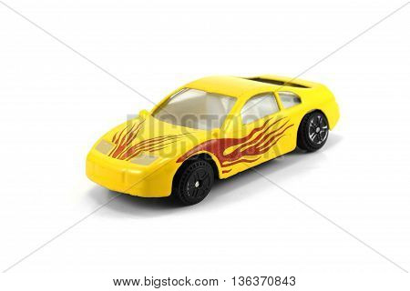 yellow car deportived parked isolated white background