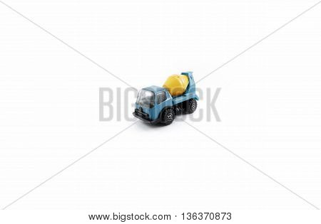 cement truck toy yellow and light blue isolated white bakground