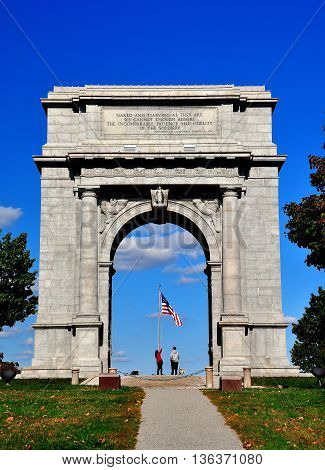 Valley Forge Pennsylvania - October 15 2015: National Memorial Arch erected to commemorate the arrival of General George Washington and his Continental Army into Valley Forge  *