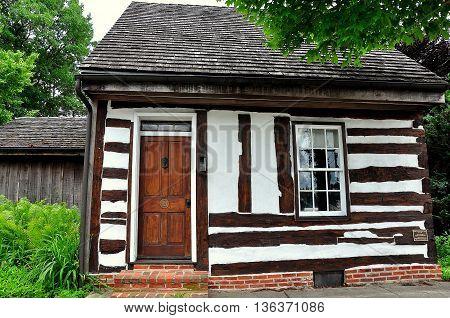 Lititz Pennsylvania - June 7 2015: Fachwerk half-timbered 18th century cottage on Market Street *