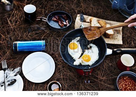 Fried Egg Bean Bacon Bread Coffee Relax Cooking Concept