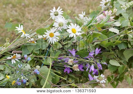 Closeup of oxeye daisy and bluebell flowers on a traditional maypole
