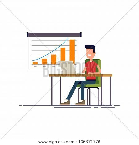 People working at the computer. Flat modern vector illustration.