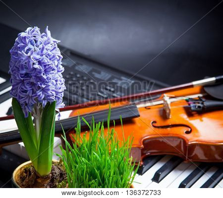 Musical background with spring flowers