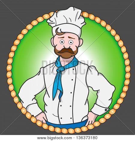 Color sticker of restaurant chef. Restaurant chef vector icon.