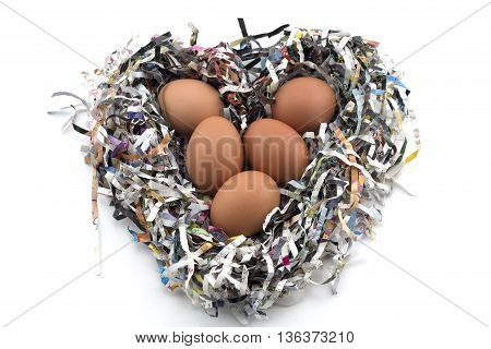 Eggs on a Newspaper protection (Heart Shape)