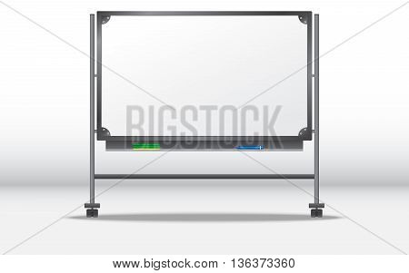 Blank white board for lectures. portable board. metal board. Blackboard. Template for your presentations.