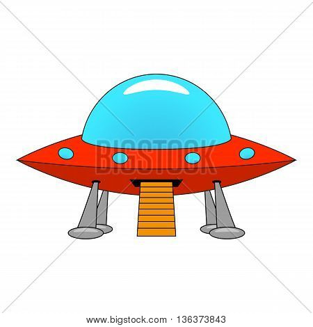 Vector illustration of a cartoon ship UFO. Isolated on white background.