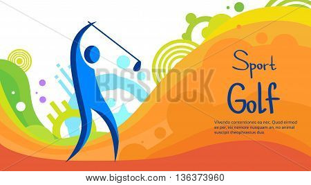 Golf Player Sport Competition Colorful Banner Flat Vector Illustration