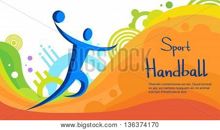 Handball Player Sport Competition Colorful Banner Flat Vector Illustration