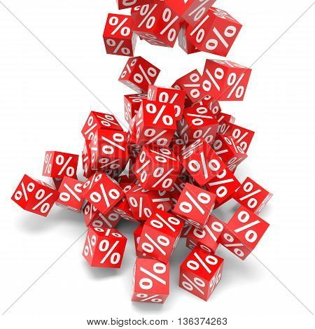 Red discount cube on white backgrounds. 3D illustration.