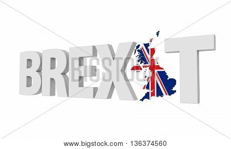 Brexit Text isolated on white background. 3D render