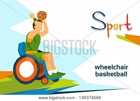 Disabled Basketball Player On Wheelchair Sport Competition Flat Vector Illustration