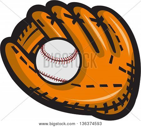 Illustration of a baseball glove and ball viewed from front set on isolated white background done in retro style.