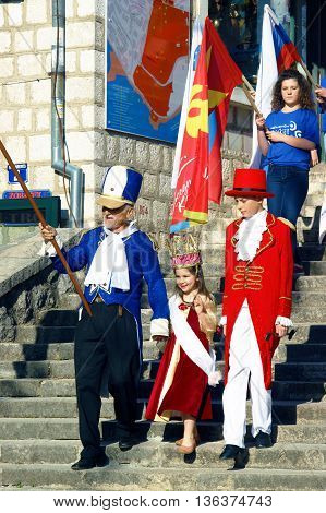 Montenegro, Herceg Novi - 04/06/2016: The opening of the carnival - the procession of the little princess. 10 International Children's Carnival in Herceg Novi