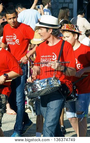 Montenegro, Herceg Novi - 04/06/2016: Group of musicians at the carnival. 10 International Children's Carnival in Herceg Novi