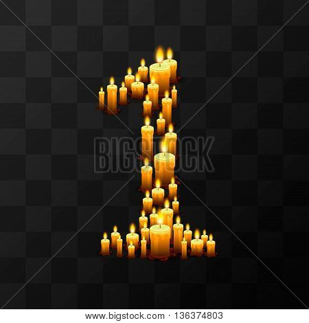 Tribulation numbers 1 of candles, transparent background, template design element