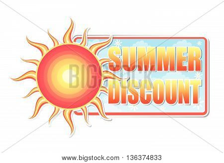 summer discount banner - text in blue label with red yellow sun and white daisy flowers, business concept, vector