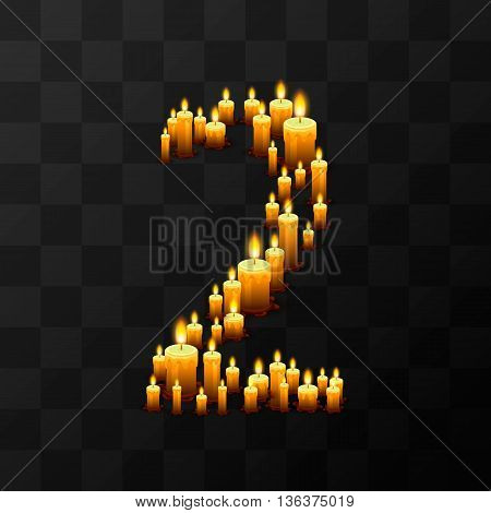 Tribulation numbers 2 of candles, transparent background, template design element