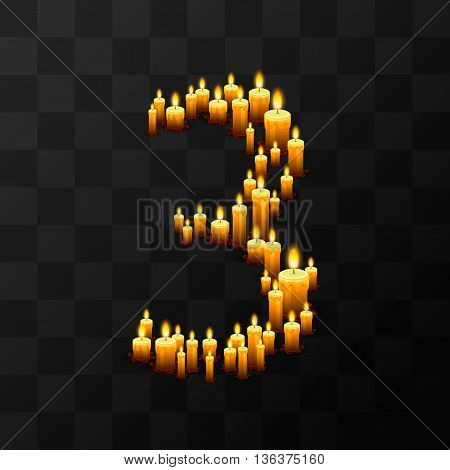 Tribulation numbers 3 of candles, transparent background, template design element