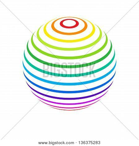 Abstract Sphere Element with Color Striped Pattern Envelope Isolated on White Background