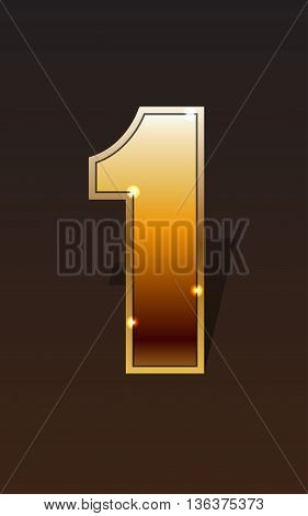 Golden number one on dark background isolated. Golden alphabet. Vector illustration number one for golden best choice design. Number one icon or number one label. Vector illustration stock vector.