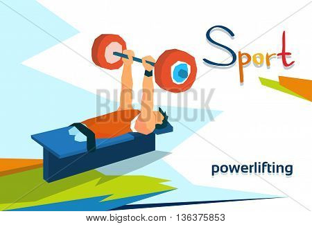 Disabled Athlete Powerlifting Sport Competition Flat Vector Illustration
