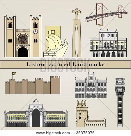 Lisbon Colored Landmarks