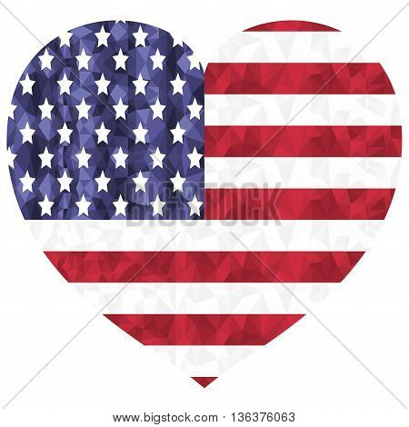 United States flag  flags as a symbol of the independence day , American veterans , and symbol of patriotism in low poly art style in heart shape on white background