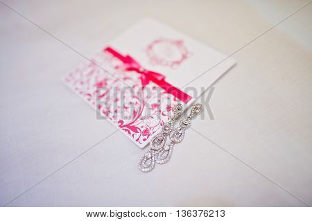 Vintage Pink And White Wedding Card With Brilliant Earrings
