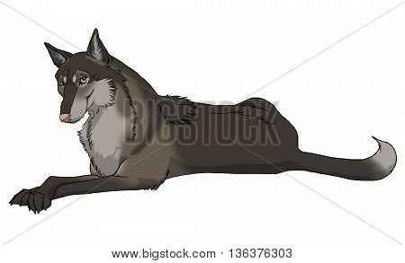 Friendly smiling brown feminine cartoon wolf character cutout