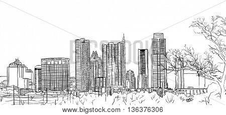 Austin Texas city skyline landscape digital illustration