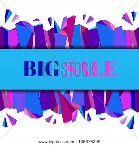 Horizontal blue big sale banner. Abstract geometric background. Center blue border geometric design. Blue, red, pink and purple geometric abstract triangles design background. Vector illustration.