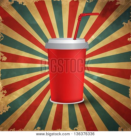 Red paper cup template for soda or cold beverage with drinking strawon grange old backround