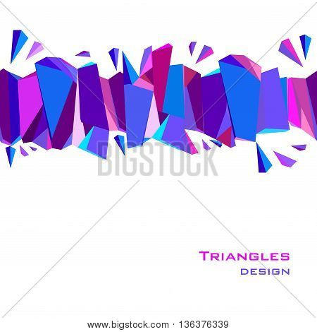 Horizontal top blue border geometric design. Blue, red, pink and purple geometric abstract triangles border design background. Blue abstract geometric background. Vector illustration.