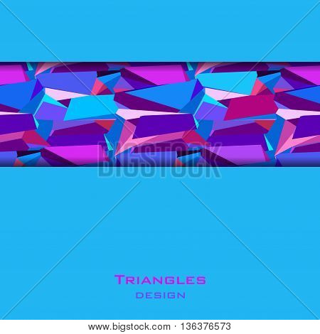 Blue abstract geometric background. Horizontal blue border geometric design. Blue, red, pink, purple geometric abstract triangles border design background. Abstract vector illustration stock vector.
