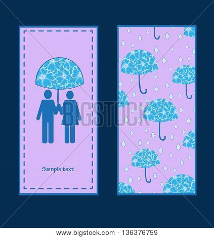 vector illustration of two postcards the family umbrella love