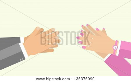 Applause gesture by man and woman. Vector illustration for appreciation sign in flat style. Hand clasping both male female cheer expression