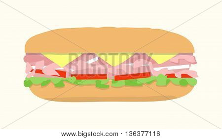 Submarine sandwich hoagie sub hero. Vector illustration of fast food