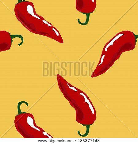 Hot chili seamless pattern on yellow background.Vector seamless pattern with spicy chili pepper.