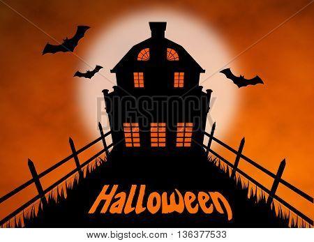 halloween maison hanté noir nuit lune chauve-souris