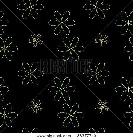 Flower chaotic seamless pattern. Fashion graphic background design. Modern stylish abstract texture. Monochrome template for prints textiles wrapping wallpaper website etc. VECTOR illustration