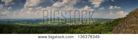 Panorama of the Vogelsberg low mountain range Hessen Germany