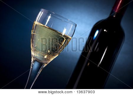 White Wine On A Glass Closeup