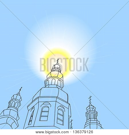 Christian church with a halo. Vector illustration.