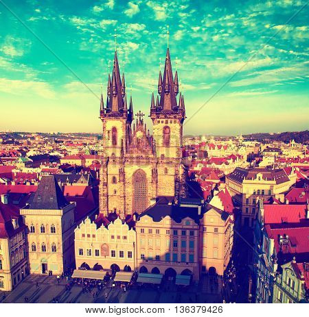 Old Town Square with Church of Our Lady before Tyn in eastern european Czech capital Prague -vintage view from Town Hall