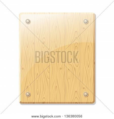 Vector wooden board sign on a white background.