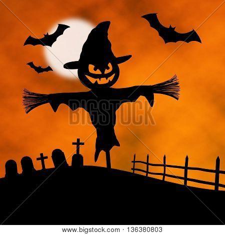 halloween épouvantail lune chauve-souris citrouille noir et orange