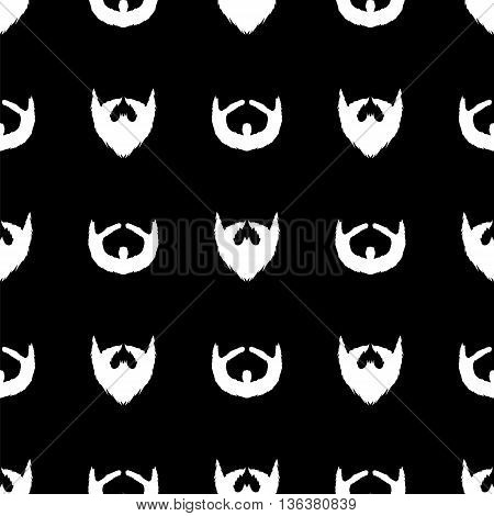 Beard Silhouette Seamless Pattern. Mustache Barber Background